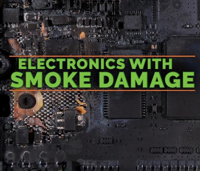 Electronics damaged with smoke, on the middle of the picture it says ELECTRONIC WITH SMOKE DAMAGE