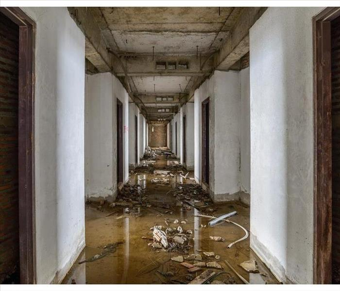 inside of a building flooded